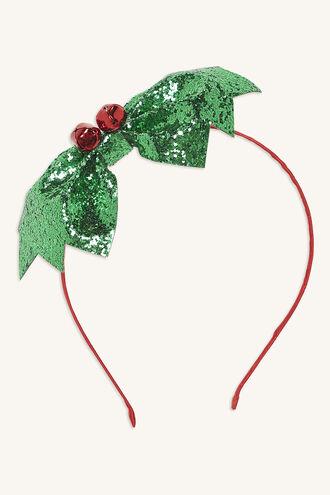 CHRISTMAS HOLLY HEADBAND in colour GREEN ASH