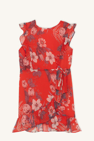 ENID WRAP DRESS in colour POPPY RED