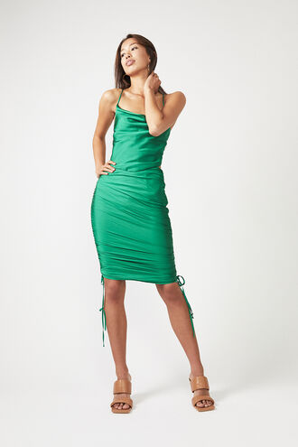 ROUCHED SIDE SKIRT in colour CLASSIC GREEN