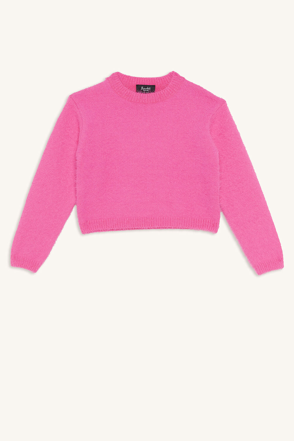 CROPPED FLUFFY KNIT in colour BEETROOT PURPLE