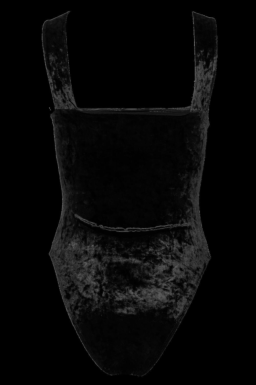 MIMI VELOUR BODYSUIT in colour CAVIAR