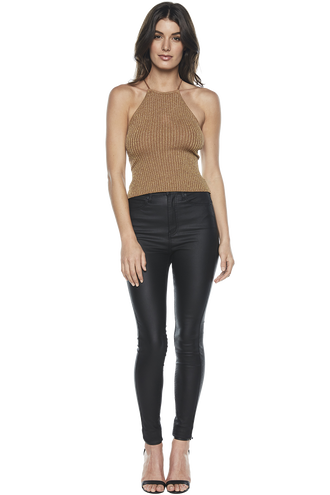 METALIC KNIT TANK TOP in colour SEQUOIA