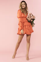 NALA FRILL DRESS in colour SPICY ORANGE