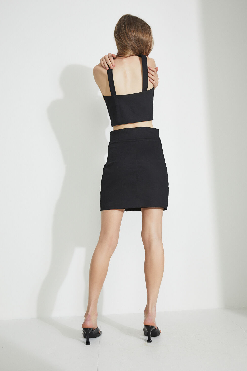 MINI FLY FRONT SKIRT in colour CAVIAR