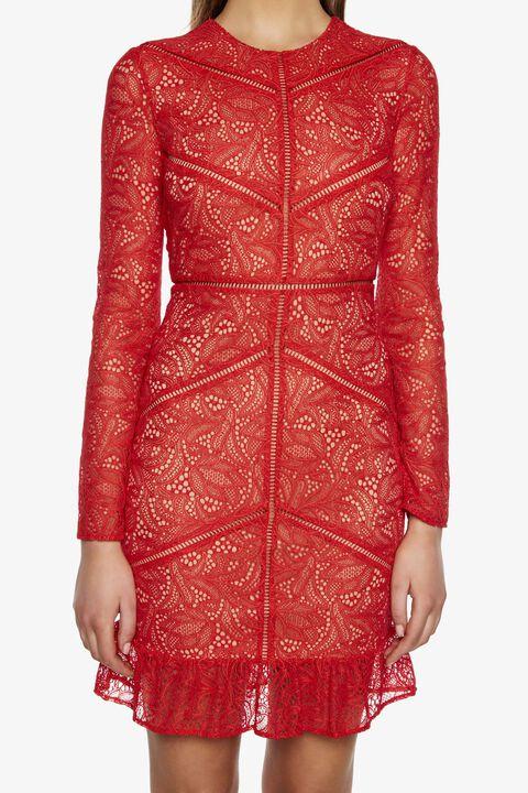 SASHA LACE DRESS in colour TRUE RED