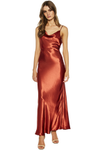 ESTELLE DRAPE MAXI DRESS in colour BARN RED
