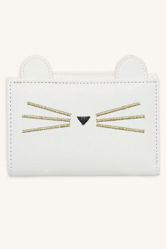 CAT FACE FOLDOVER WALLET in colour WHITE ALYSSUM