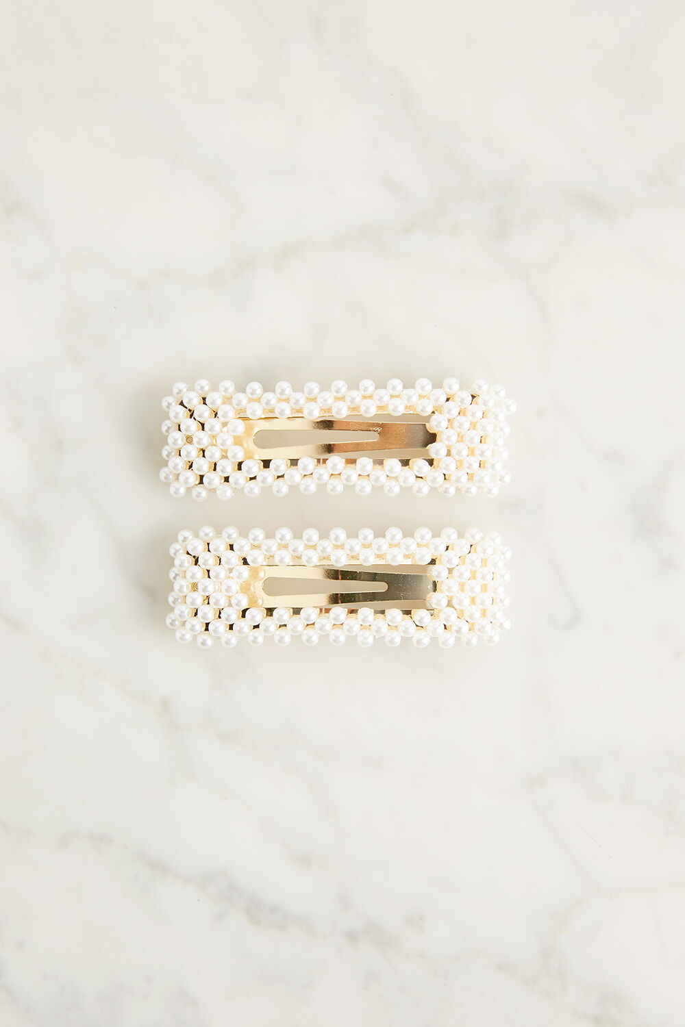 PEARL RECTANGLE CLIP SET in colour SHELL