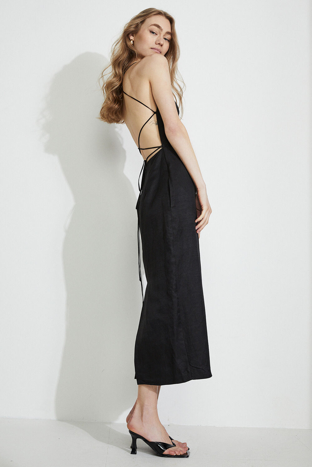 MINDY BACK DETAIL LINEN MIDI DRESS  in colour CAVIAR
