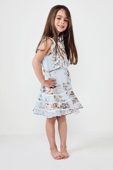 JUNIOR GIRL SADIE TRIM DRESS in colour BALLAD BLUE