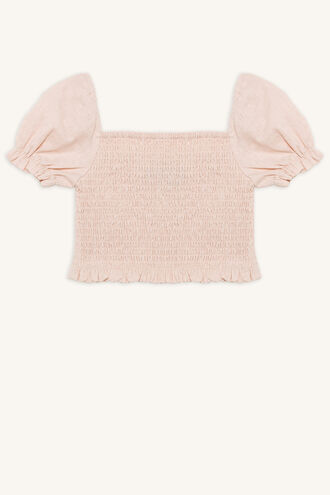 JOANIE PUFF SLEEVE TOP in colour SILVER PEONY