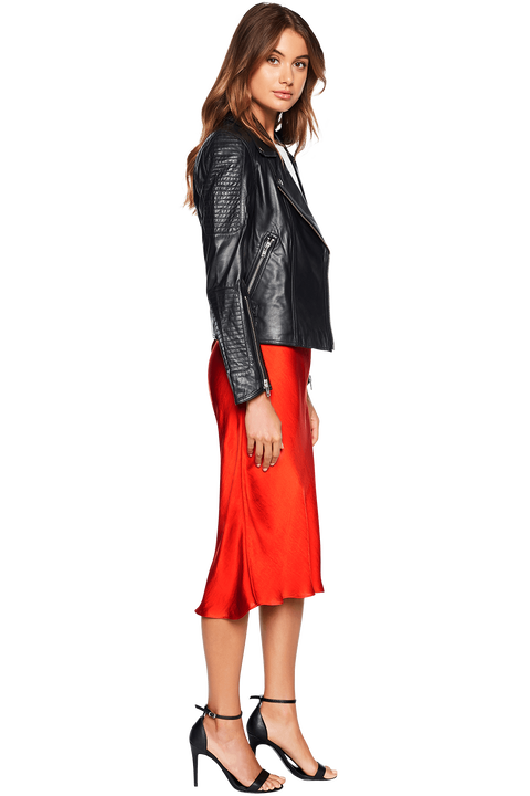 LIANA LEATHER BIKER JACKET in colour CAVIAR