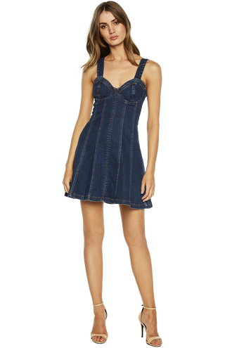 ZOEY SLEEVELESS DENIM DRESS in colour DRESS BLUES