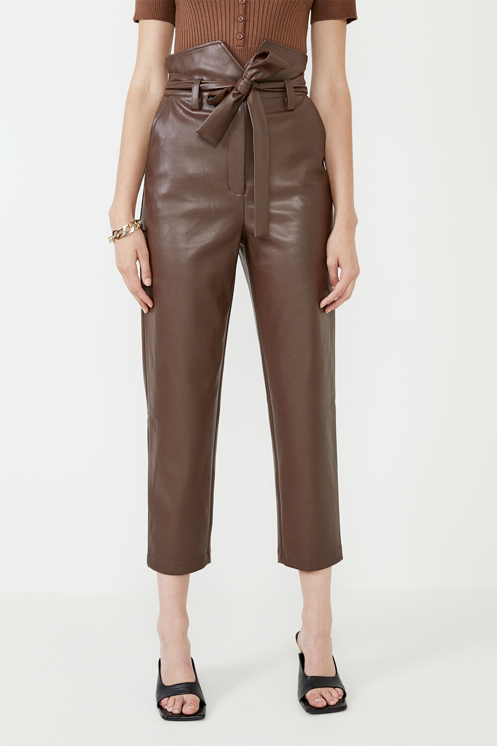 DEBBIE VEGAN LEATHER PANT  in colour CHOCOLATE BROWN