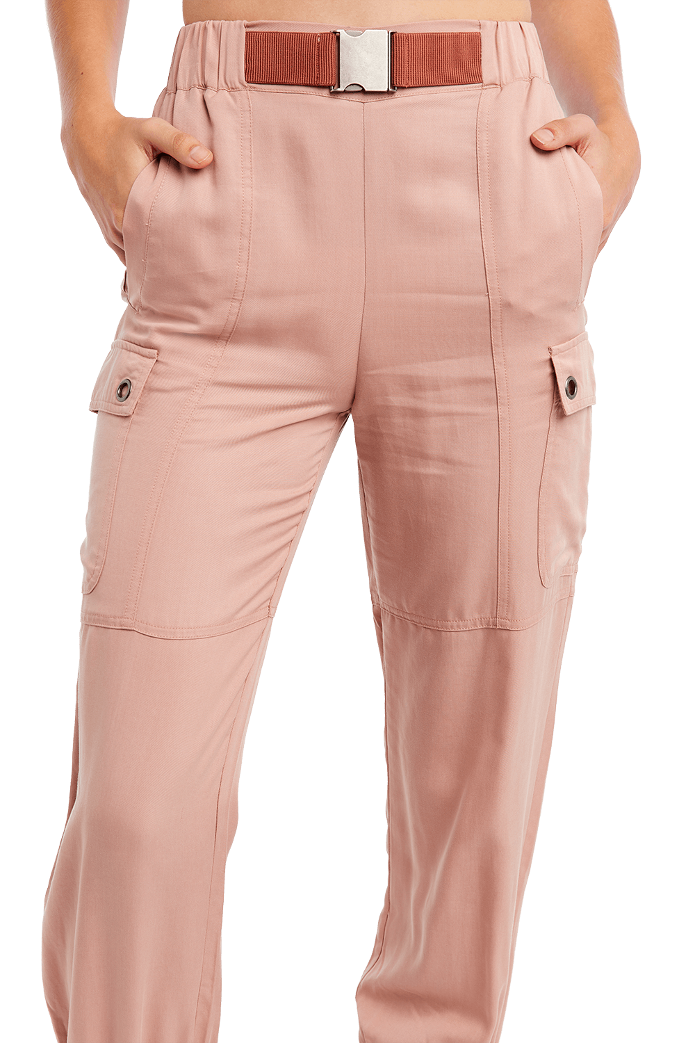BUCKLE CARGO PANT in colour BRIDAL ROSE