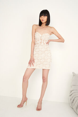 LACE CORSET MINI DRESS in colour GRAY LILAC