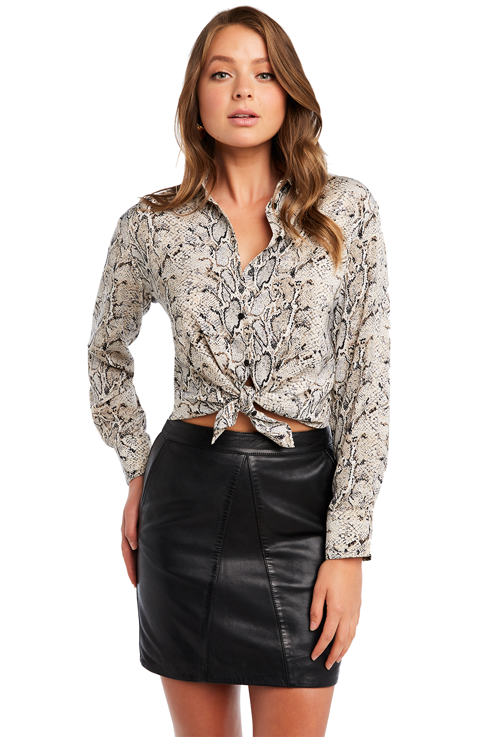 TAYLAH SNAKE BLOUSE in colour BIRCH