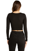 BRIA LS CROP TOP in colour CAVIAR