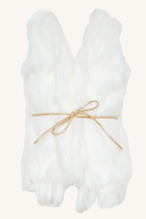 BABY GIRL ISLA FAUX FUR VEST in colour CLOUD DANCER