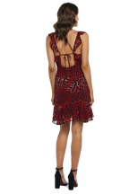 LEOPARD FRILL DRESS in colour CHILI PEPPER