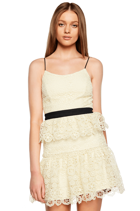 OLIVIA TIERED DRESS in colour LEMON MERINGUE