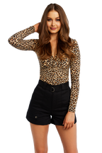 LEOPARD TWIST BODYSUIT in colour LATTE