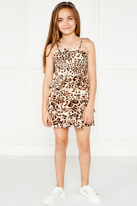 LEOPARD SHIRRED DRESS