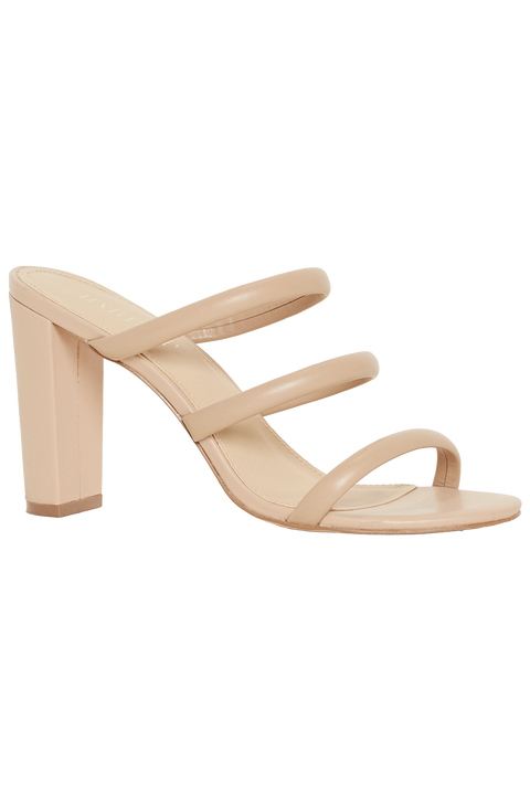 TRIPLE LEATHER MULE in colour BEIGE