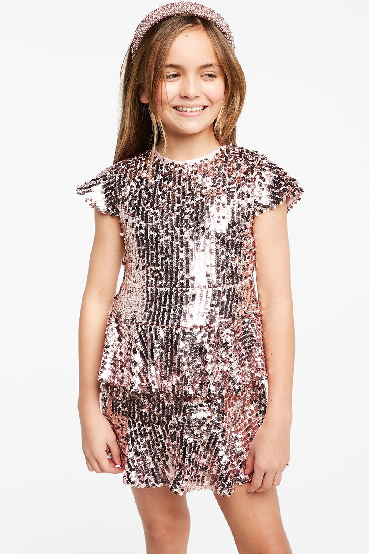 LEILA SEQUIN DRESS in colour PALE DOGWOOD
