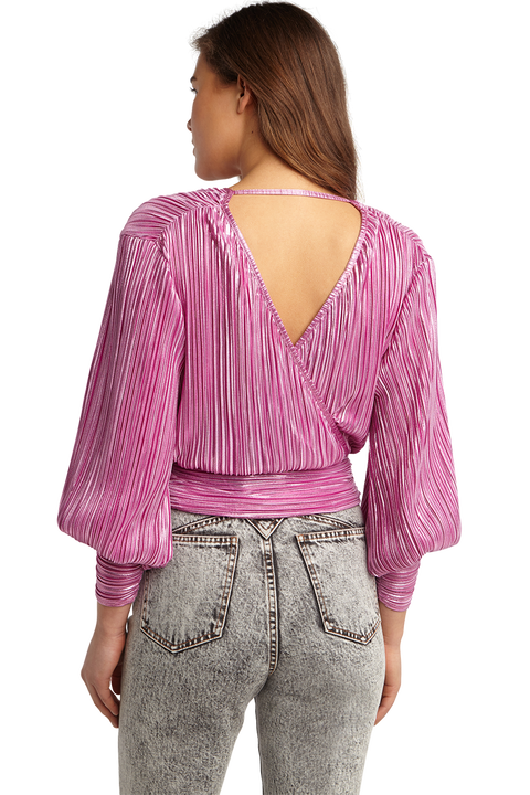TRINITY PLEAT TOP in colour PURPLE ORCHID