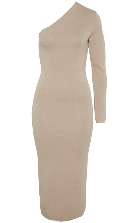 ONE SHOULDER KNIT DRESS in colour TAN