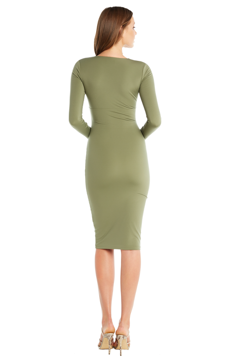 ALI LONG SLEEVE DRESS in colour DEEP LICHEN GREEN