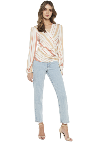 WRAP STRIPE TOP in colour POWDER PUFF