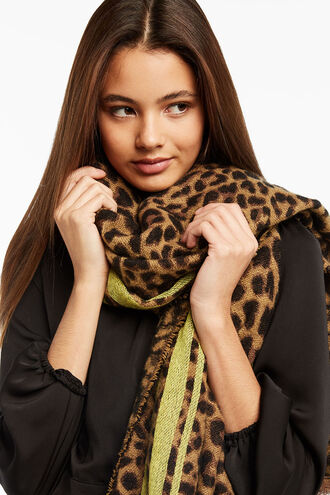 LEOPARD NEON SCARF in colour ANTELOPE