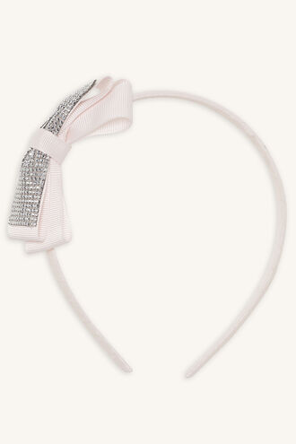 DIAMANTE BOW ALICE BAND in colour PINK CARNATION