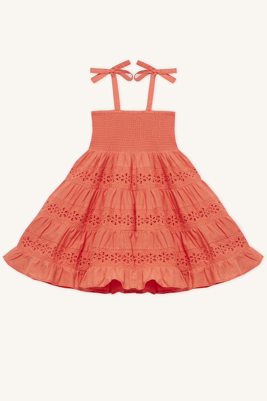 42c604fff82 ELSA TIERED DRESS in colour MANDARIN RED