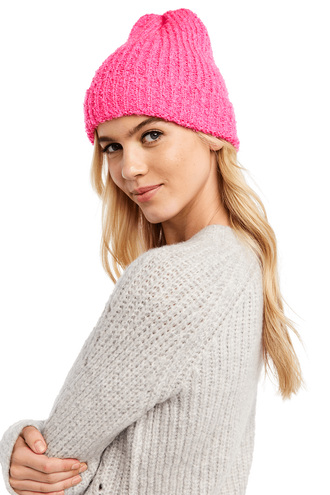 DOUBLE KNIT BEANIE in colour BEETROOT PURPLE