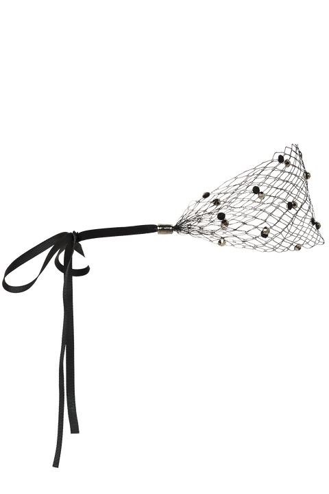DIAMOND MESH HEADBAND in colour METEORITE