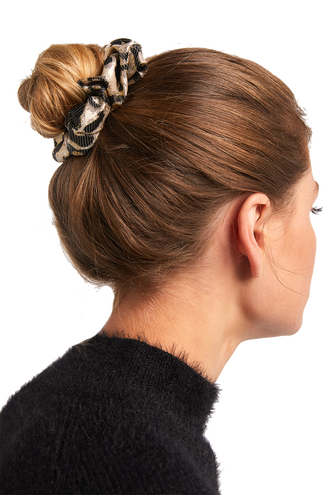 LEOPARD METALLIC SCRUNCHIE in colour ANTELOPE