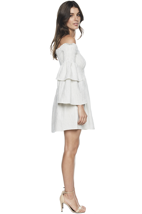 NUNO SHIRRED DRESS in colour BRIGHT WHITE