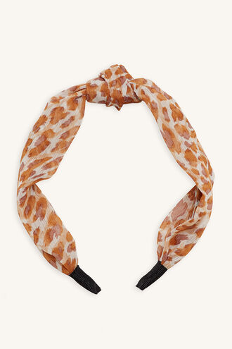 LEOPARD WRAP HEADBAND in colour ANTELOPE