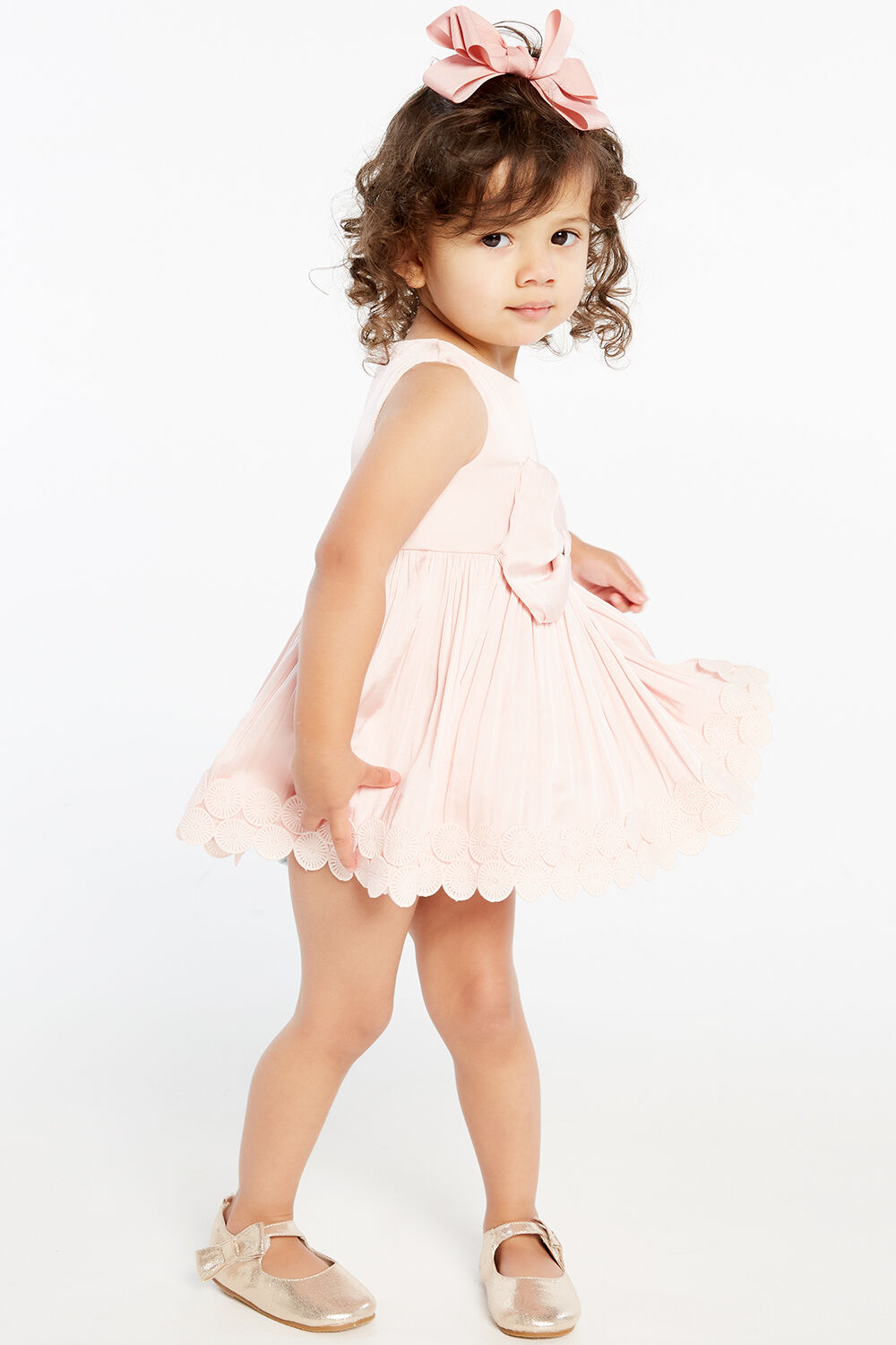 BABY GIRL BOWIE TRIM DRESS   in colour POTPOURRI