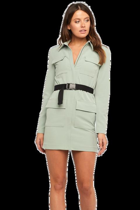 RONNIE CARGO DRESS in colour DEEP LICHEN GREEN