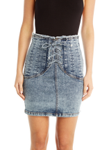 CORSET DENIM SKIRT in colour BRIGHT WHITE