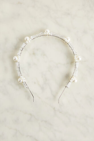 PEARL & STONE HEADBAND in colour BRIGHT WHITE
