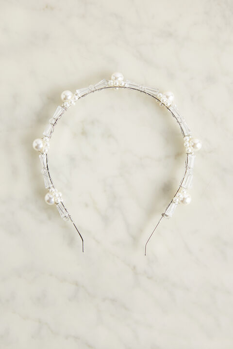 PEARL AND STONE HEADBAND in colour BRIGHT WHITE
