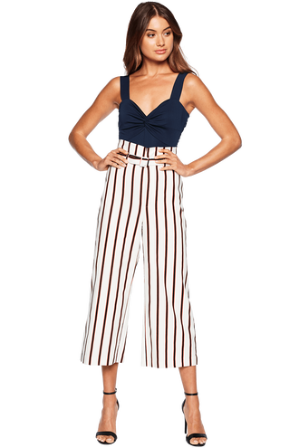 STRIPE BELT PANT in colour CLOUD DANCER