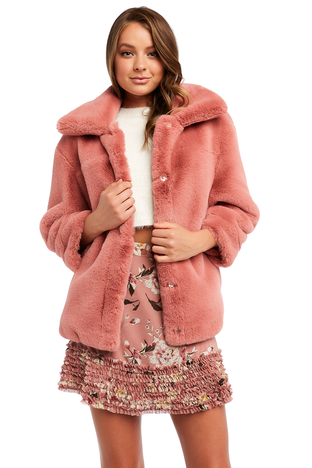 PIA FAUX FUR BOMBER JACKET in colour SILVER PEONY