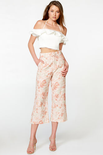 LINEN BLEND PANT in colour PEACH MELBA