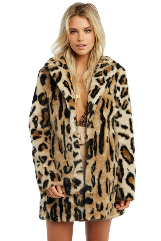 LEOPARD FUR COAT in colour DESERT MIST